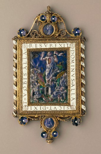 Stock Photo: 1788-28024 Silversmith's art, Italy, 16th century. Chiselled, enamelled gilded silver pendant plaque set with pearls and mother-of-pearl. Side depicting the Resurrection.
