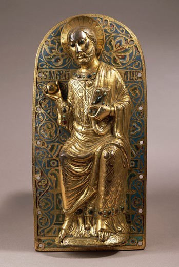 Goldsmith's art, France, 13th century. Gilded copper and Limoges enamel plaque of Saint Martial, 1230. : Stock Photo