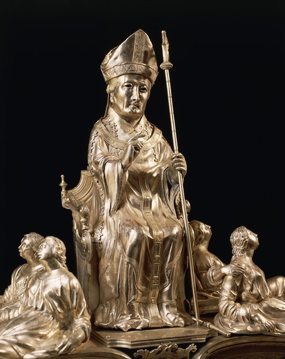 Silversmith's art, Italy, 14th century. Silver statue of the reliquary of Saint Eusebius. : Stock Photo