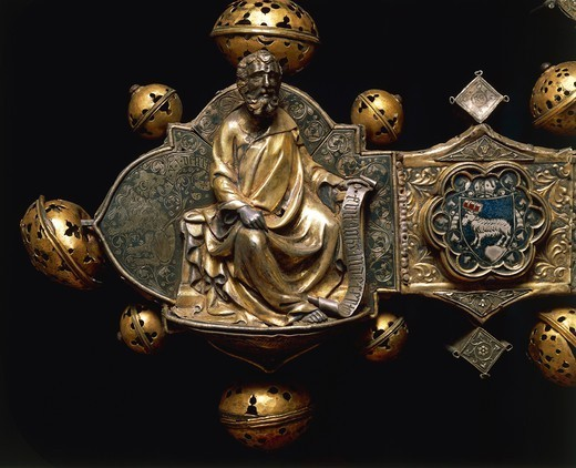 Stock Photo: 1788-28132 Silversmith's art, Italy, 15th century. Nicola Gallucci da Guardiagrele (1385-1462), processional cross of Saint Maximus, 1434, in silver, enamel and copper. Height 90 cm. Back side. Detail: Saint Mark the Evangelist.