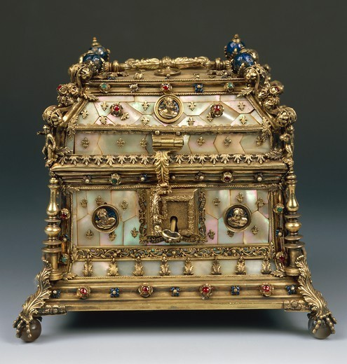 Stock Photo: 1788-28187 Silversmith's art, France, 16th century. Pierre Mangot's casket in engraved and cast gilded silver, enamel, jasper, garnet, agate, pearls. Paris, 1533-1534.