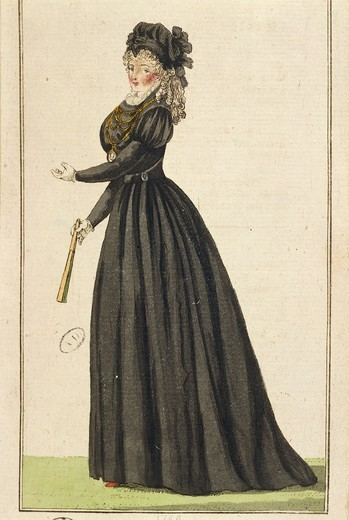 Stock Photo: 1788-28288 Fashion, England, 18th century. French widow lady in exile, 1796.