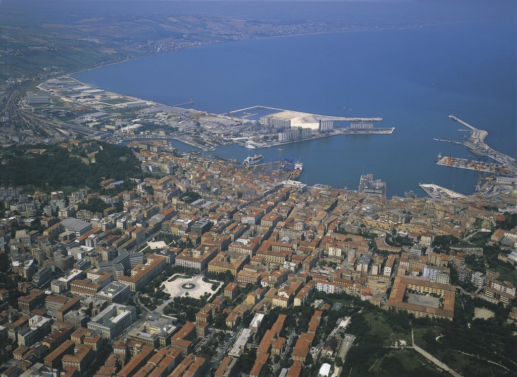 Stock Photo: 1788-2848 Aerial view of a city, Marches, Italy