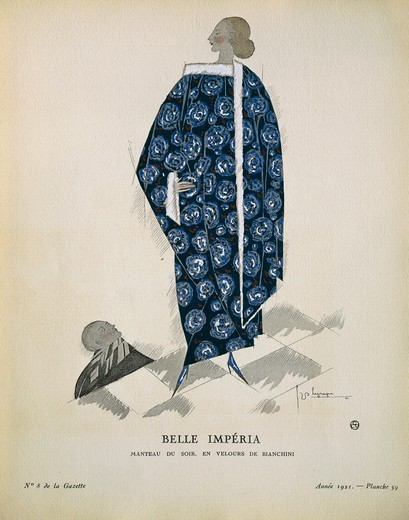 Stock Photo: 1788-28538 Fashion, France, 20th century. Women's fashion plate depicting evening cape by Bianchini (Belle Imperia. Manteau du soir, en velours de Bianchini). Drawing by G. Lepape extracted from the periodical La Gazette du Bon Ton, October 1921.