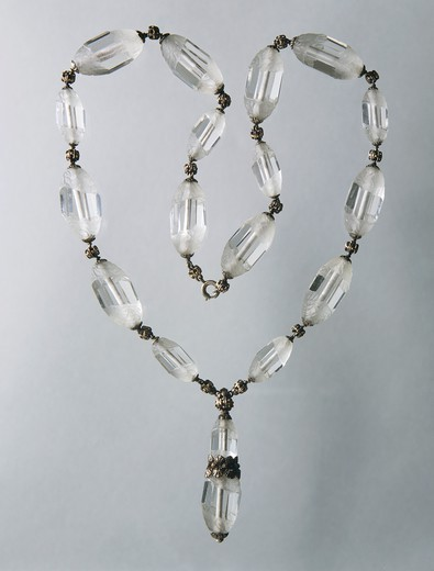 Stock Photo: 1788-28601 Goldsmith's art, Italy, 20th century. Mario Buccellati, briolette-cut rock crystal necklace, with gold and silver decorations, 1940s.