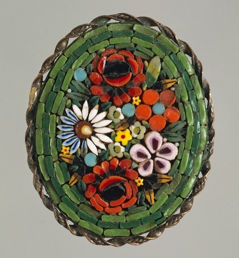 Stock Photo: 1788-28635 Silversmith's art, Italy, 20th century. Silver brooch with floral mosaic in glass tiles, 1950s.