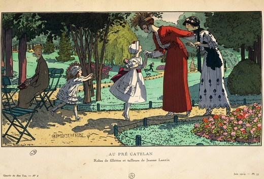 Fashion, France, 20th century. Children's suits and dresses by Jeanne-Marie Lanvin, 1914. Extract from the periodical La gazzette du Bon Ton. : Stock Photo