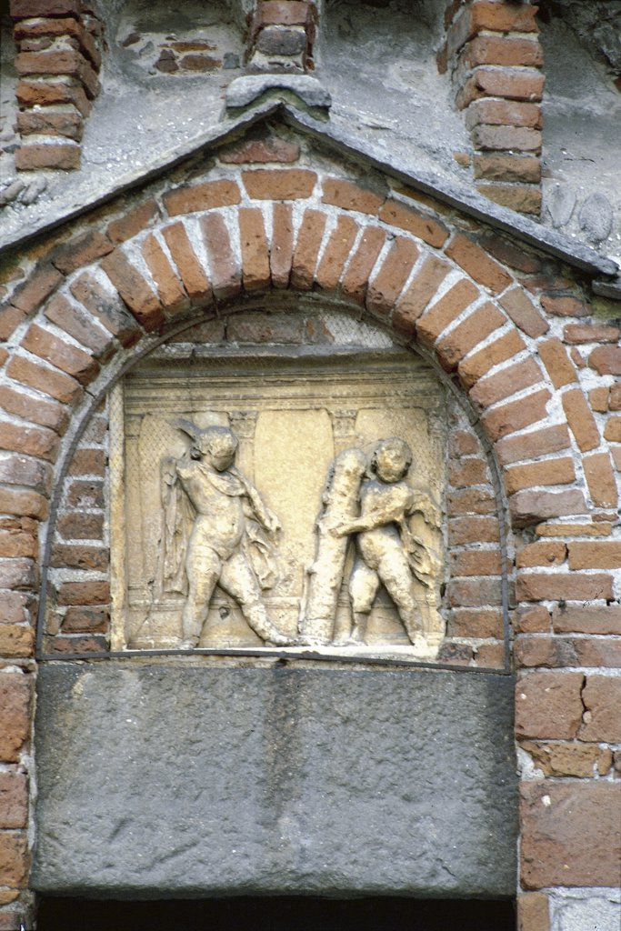 Stock Photo: 1788-2866 Italy - Piedmont Region - Biella - Baptistry - Lunette of the portal
