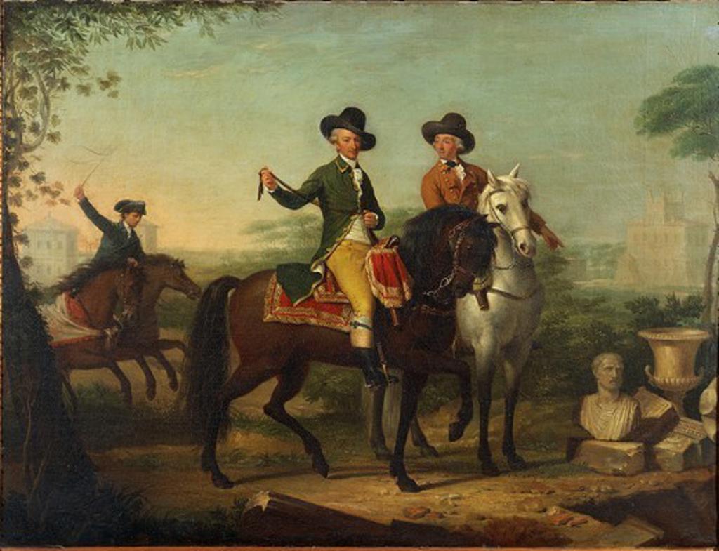 Teodoro Matteini (1754-1831), Portrait of Prince Sigismondo Chigi on horseback in his estate of Castelfusano, 1797. : Stock Photo