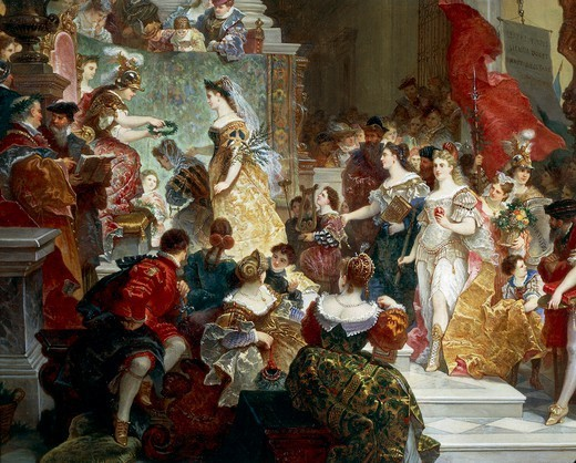 Stock Photo: 1788-28827 Giuseppe Lorenzo Gatteri (1829-1884), Goddess Minerva Awarding Prizes to the Arts, 1884. Detail.