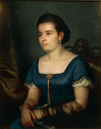 Raffaele Pich (1832-1871), Portrait of Giovanna Periz N. Dus. : Stock Photo