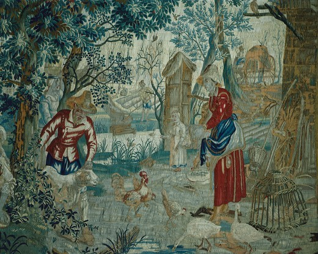 Stock Photo: 1788-28866 Summer, detail of 18th century Gobelins tapestry depicting the Seasons. Rococo Room, Rosenholm Castle, Jutland, Denmark.