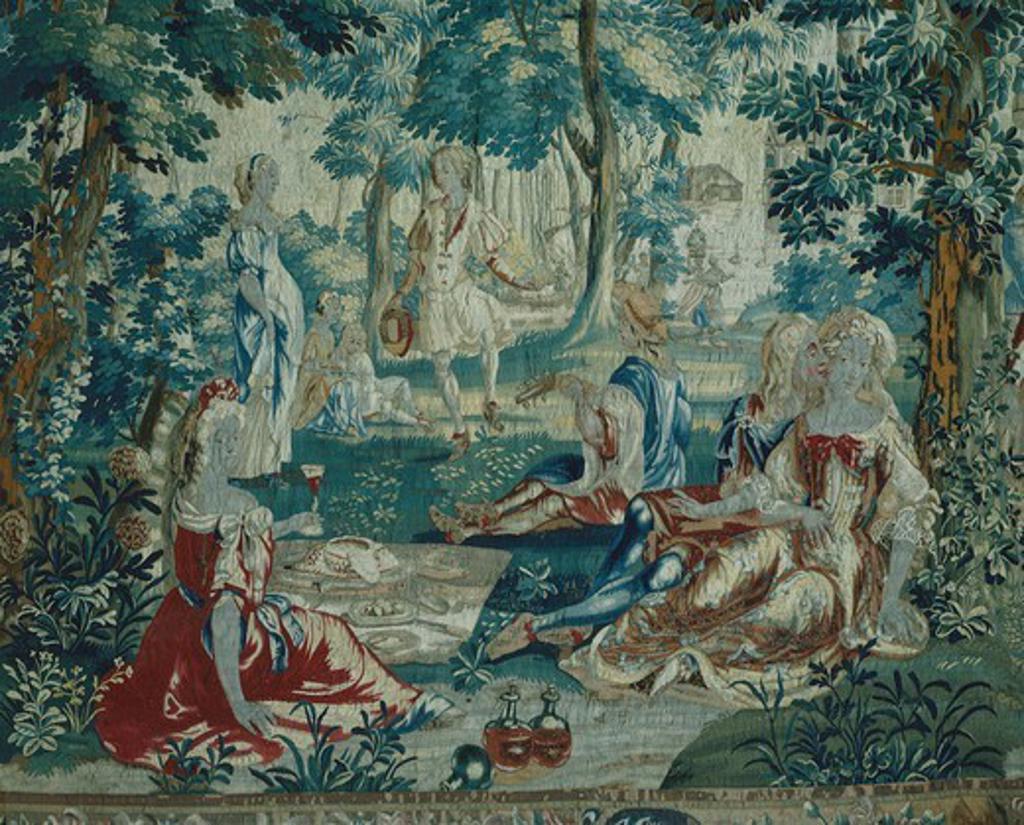 Stock Photo: 1788-28867 Summer, rural festival, detail of 18th century Gobelins tapestry depicting the Seasons. Rococo Room, Rosenholm Castle, Jutland, Denmark.
