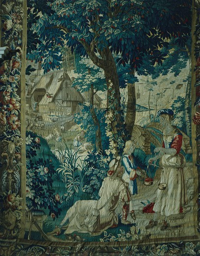 Stock Photo: 1788-28868 Summer, selling cherries, detail of 18th century Gobelins tapestry depicting the Seasons. Rococo Room, Rosenholm Castle, Jutland, Denmark.