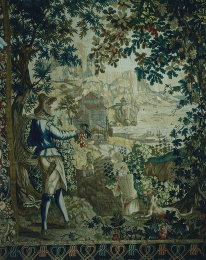 Stock Photo: 1788-28870 Autumn, detail of 18th century Gobelins tapestry depicting the Seasons. Rococo Room, Rosenholm Castle, Jutland, Denmark.