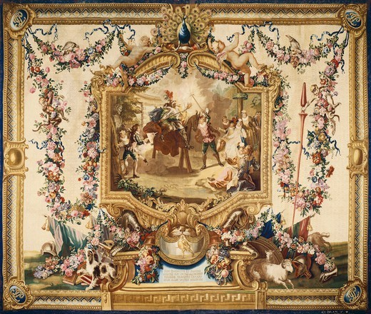 Stock Photo: 1788-28882 Don Quixote and Sancho on a wooden horse, 18th century Gobelins tapestry, woven by Audran after designs by Charles Coypel, 1714-44, from the series Don Quixote.