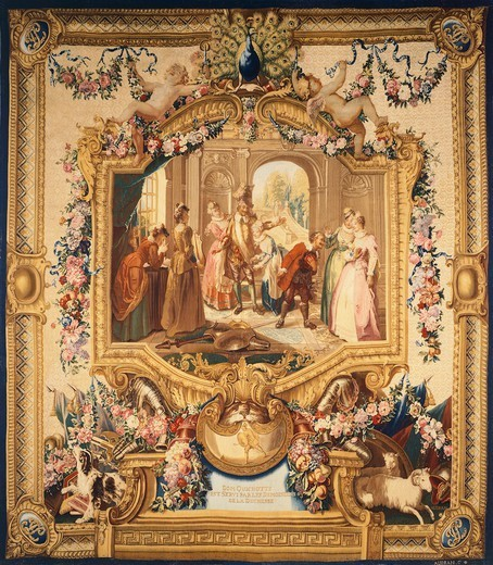 Don Quixote served by maidens, 18th century Gobelins tapestry, woven by Audran after designs by Charles Coypel, 1714-44, from the series Don Quixote. : Stock Photo