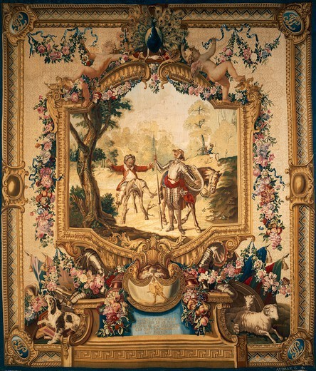 Stock Photo: 1788-28884 The theft of Sancho's donkey, 18th century Gobelins tapestry, woven by Audran after designs by Charles Coypel, 1714-44, from the series Don Quixote.