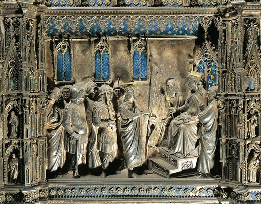 Stock Photo: 1788-28897 Silversmith's art, Italy, 15th century. Silver altar of the Baptistery of San Giovanni, begun 1367. Detail: Florentine goldsmiths (Leonardo di Ser Giovanni, Betto di Geri, Cristofano di Paolo, Michele di Monte), Stories from the life of Saint John the Baptist: Saint John before Herod.