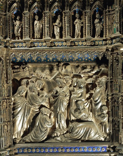 Stock Photo: 1788-28900 Silversmith's art, Italy, 15th century. Silver altar of the Baptistery of San Giovanni, begun 1367. Detail: Florentine goldsmiths (Leonardo di Ser Giovanni, Betto di Geri, Cristofano di Paolo, Michele di Monte), Stories from the life of Saint John the Baptist: Jesus receiving messengers of Saint John