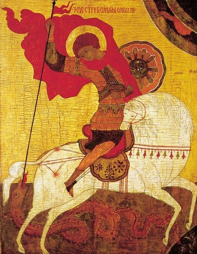Stock Photo: 1788-30682 St George, by an anonymous artist from Novgorod School, Russia, 15th Century.