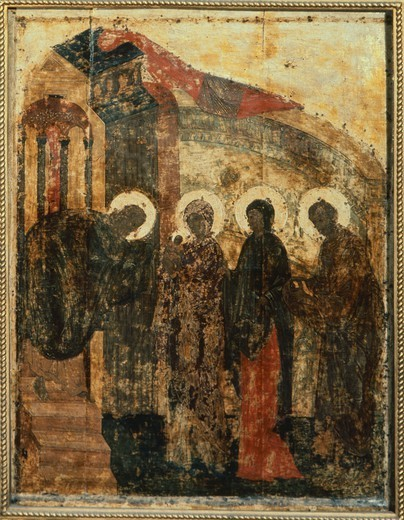 Presentation of Jesus at the Temple, 1405, Andrei Rublev or Andrej Rubljov (1360-1430), Icon, Cathedral of the Annunciation, Moscow. : Stock Photo