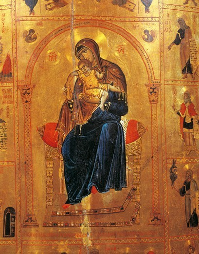 Stock Photo: 1788-30708 Virgin with Child, by Theotokos Kykkotissa, plate from a Byzantine manuscript, 11th or 12th Century, detail.