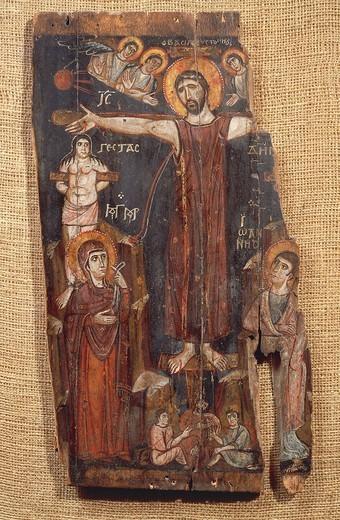 The Crucifixion, by an anonymous Byzantine, St Catherine's Monastery, Sinai, Egypt, Icon, 8th Century. : Stock Photo