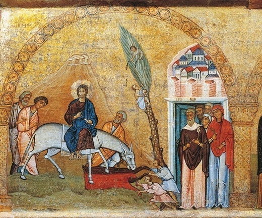 Christ's Arrival in Jerusalem, from a fragment of an architrave panel of a tempietto, Byzantine panel, first half of 11th Century, 118x44 cm, detail. : Stock Photo