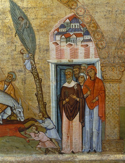 The people of Jerusalem, from a fragment of an architrave panel of a tempietto, Byzantine panel, first half of 11th Century, 118x44 cm, detail. : Stock Photo