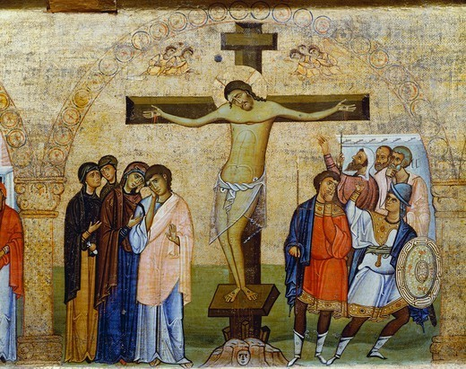 The Crucifixion, from a fragment of an architrave panel of a tempietto, first half of 11th Century, Byzantine panel, 118x44 cm, detail. : Stock Photo
