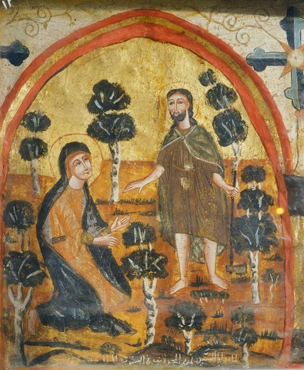 Christ and Mary Magdalene (Noli Me Tangere), by an unknown artist from the Byzantine-influenced Coptic school, Wooden icon, Church of St Barbara, Cairo, Egypt, 14th Century. : Stock Photo