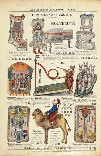 Stock Photo: 1788-30791 France, 20th century. Comptoir des jouets, sale toy catalog of the Galeries Lafayette, 1904.