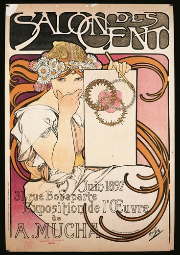Stock Photo: 1788-30813 France - 19th century - Alphonse Mucha (1860-1939), poster advertising Salon des Cent exhibition, 1897