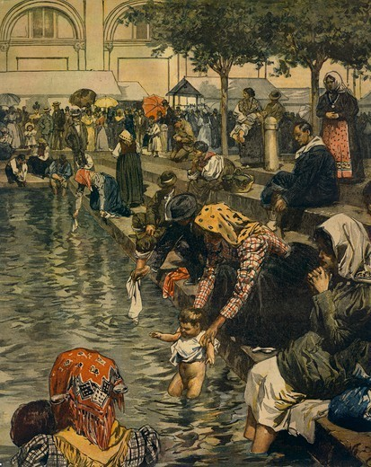 Pilgrimage to Caravaggio: Bathing in the miraculous waters. Illustrator Achille Beltrame (1871-1945), from La Domenica del Corriere, 10th June 1899. : Stock Photo