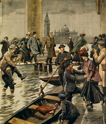 The phenomenon of high water in St. Mark's Square in Venice. Illustrator Achille Beltrame (1871-1945), from La Domenica del Corriere, 11th November 1906. : Stock Photo