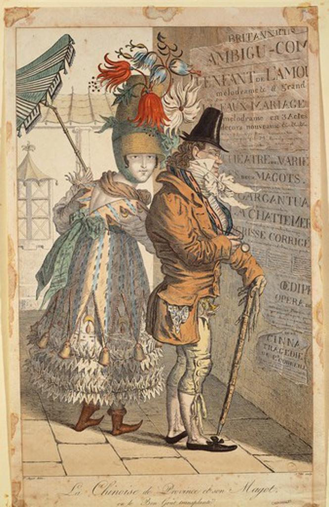 France, 19th century. Adrien Victor Auger (1787-1854), La Chinoise de Province et son Magot, ou le Bon Gout transplante', 1813. Caricature, print. : Stock Photo