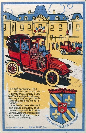 France, 20th century, First World War - Motto of Gagny, Exierunt mille ad victoriam (Thousand taxis headed to the victory). Illustration of the taxis of the Marne, september 6, 1914. : Stock Photo