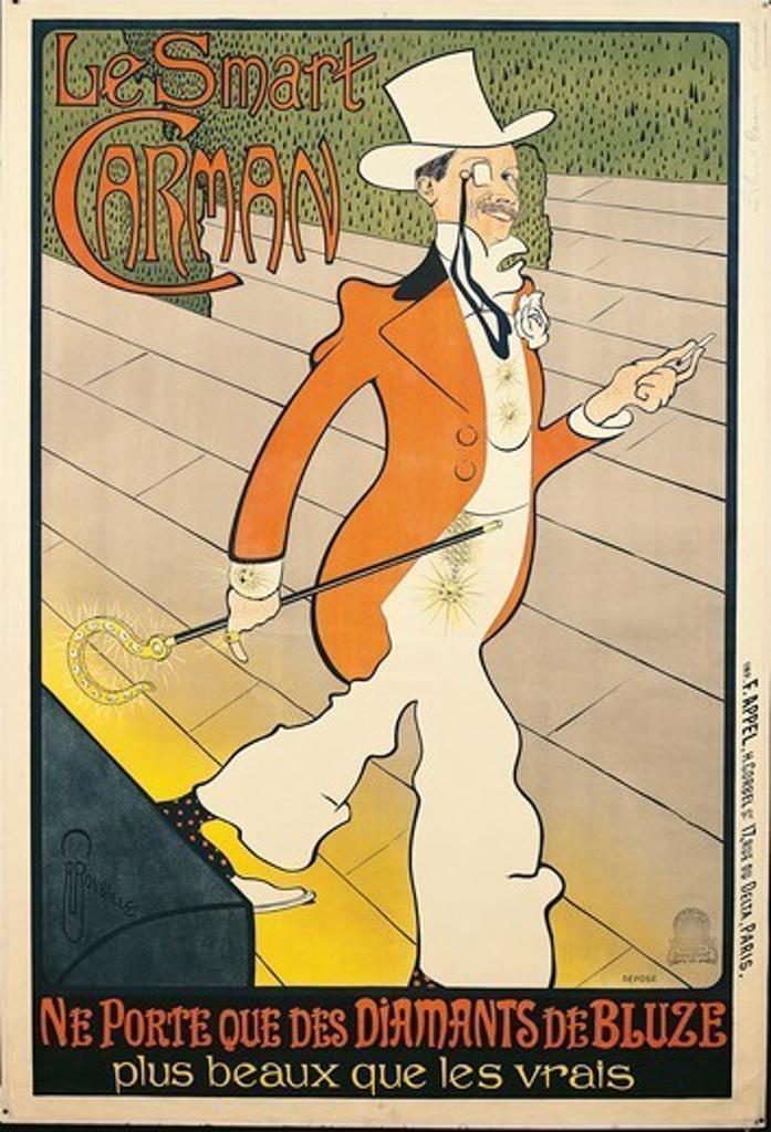 Stock Photo: 1788-30903 Posters, France, 19th century. Le Smart Carman. Ne porte que des diamants de Bluze. Print by Auguste Roubille (1872-1955).