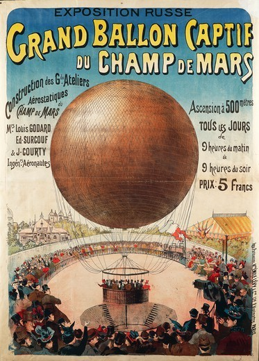 Posters, France, 20th century. Grand ballon captif du Champ de Mars. Poster advertising the Russian exhibition. : Stock Photo