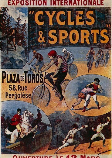 Stock Photo: 1788-31017 Posters, France, 19th century. Exposition Internationale Cycles et Sports, 1892, advertisment for the international exhibition dedicated to sports, illustration by Lucien Lefevre.