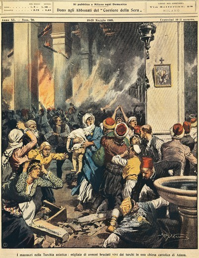 Massacres in the Eastern Turkey: Thousands of Armenians burnt alive by Turks in a Catholic Church in Adama. Illustrator Achille Beltrame (1871-1945), from La Domenica del Corriere, 16th-23rd May 1909. : Stock Photo