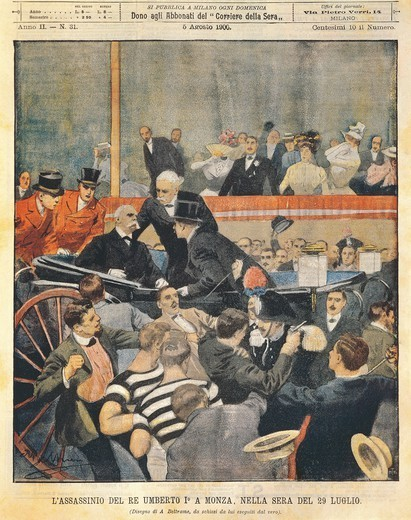 Stock Photo: 1788-31044 Regicide in Monza: Assassination of King Umberto I. Illustrator Achille Beltrame (1871-1945), from La Domenica del Corriere, 5th August 1900.