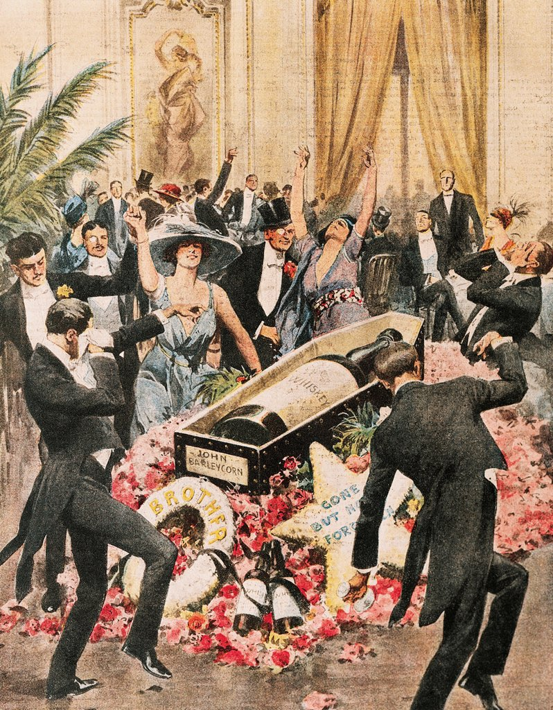 Stock Photo: 1788-31103 Whiskey bottle funeral performed to mark the beginning of prohibition in America. Illustrator Achille Beltrame (1871-1945), from La Domenica del Corriere, 1919.