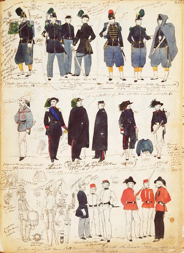 Stock Photo: 1788-31434 Militaria, Italy, 19th century. Various Italian uniforms in common use between 1847 and 1870. Color plate by Quinto Cenni.