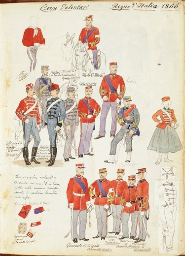 Stock Photo: 1788-31436 Militaria, Italy, 19th century. Uniforms of the Army Volunteer Corp of the Kingdom of Italy, 1866. Color plate by Quinto Cenni.