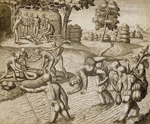 Stock Photo: 1788-31519 The massacre of Diego Tristan and ten of his sailors by the Cacique Chief Quibian, April 6, 1503, engraving, Caribbean 16th Century.