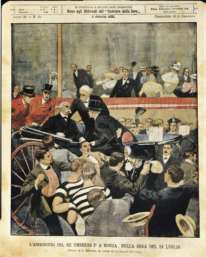 Italy - 20th century - Regicide in Monza. Italy's king Humbert I assassinated. Cover illustration from La Domenica del Corriere Sunday supplement to daily newspaper Il Corriere della Sera, 5th August 1900. Illustrator Achille Beltrame : Stock Photo