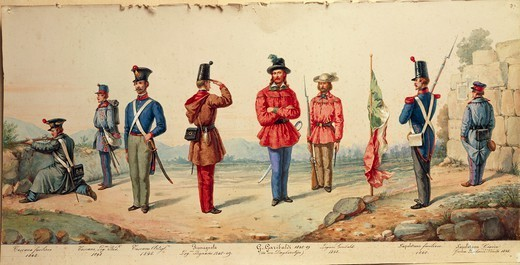 Stock Photo: 1788-31761 Militaria, Italy, 19th century. Uniforms of the Italian Legion, 1848.
