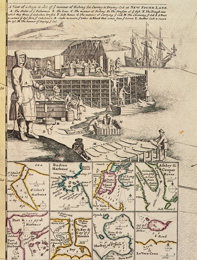 Stock Photo: 1788-31832 A fishermen colony in Newfoundland, 1709-1720, from A new and correct map of the world, laid down according to the newest discoveries, by Herman Moll, Canada 18th Century.